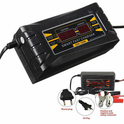 12V 6A Smart Fast Lead-acid Battery Charger for Car Motorcycle LCD Display EU-US