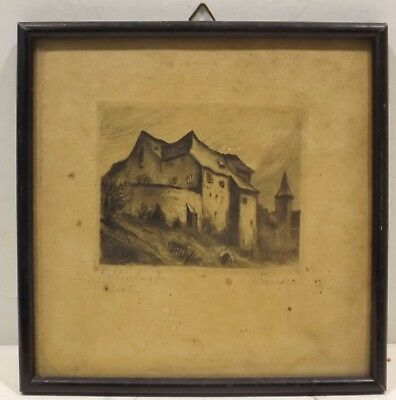 """"""" Rothenburg O.T.Convent """" radierung. Signed W.Förster in Frame"""