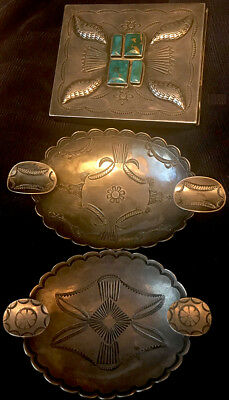 Navajo Ike (Austin) Wilson CG Wallace Hand Constructed Cigarette Case 2 Ashtrays