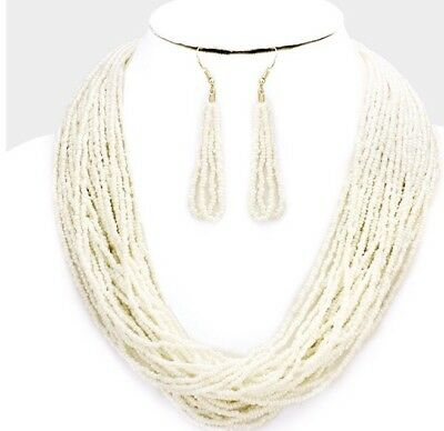 White Cream Multi Layered Strand Seed Bead Pearl Necklace Jewelry Set Earring