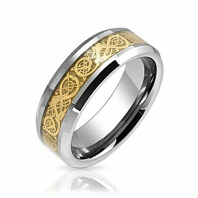 Tungsten Celtic Dragon Gold Plated Inlay Unisex Wedding Band Sets without Stones