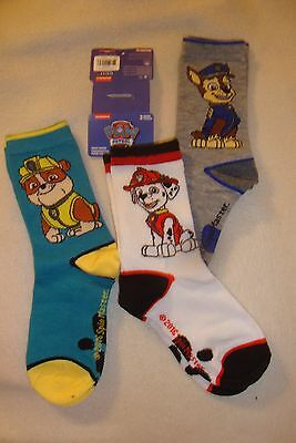 PAW PATROL SOCKS SET OF 3 NWT SIZE 11-2 all different pups