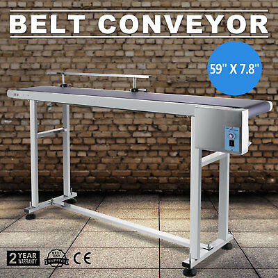 Power Slider Bed Belt Electric Coding Conveyor Stainless Steel 59''x 7.8'' 220V
