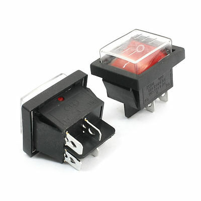 2pcs Waterproof DPST I/O Red Button Boat Rocker Switch AC 125V/20A 250V/15A