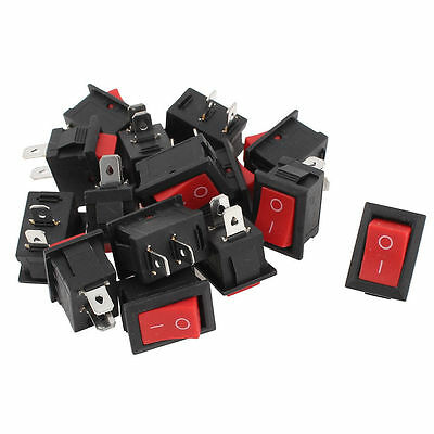 20pcs 2 Terminals SPST Red Button Rocker Switch AC 250V 6A AC 125V 10A