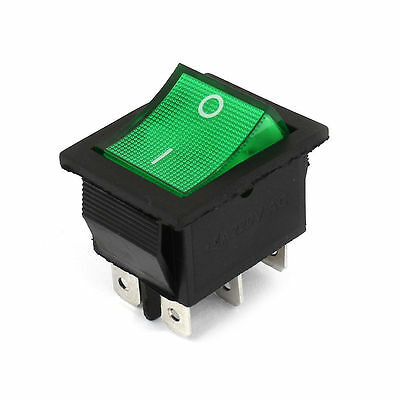 1pcs Illuminated Green Light DPDT On-Off Snap in Rocker Switch AC 220V 15A