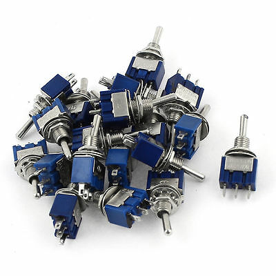 20pcs AC125V 6A SPDT ON-OFF-ON 3 Pin Latching Miniature Toggle Switch