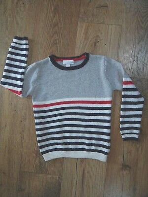 The Little white Company boys red grey blue stripe jumper crew neck age 5-6 year
