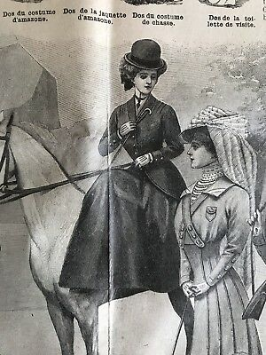 French MODE ILLUSTREE July 26 & Aug 2,1908 mags +sewing PATTERN SIDE SADDLE