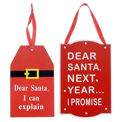 Novelty Dear Santa Hanging Christmas Sign Wooden Decoration Fun Wall Plaque