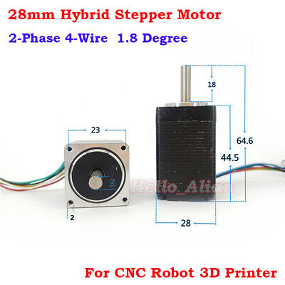 NEMA 11 Precision 1.8deg Mini 28mm 2-Phase 6-Wire Hybrid Stepper Stepping Motor