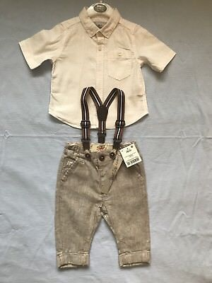 Baby Boys 3-6 Months NEXT Smart Trousers And Braces And Preloaded White Shirt