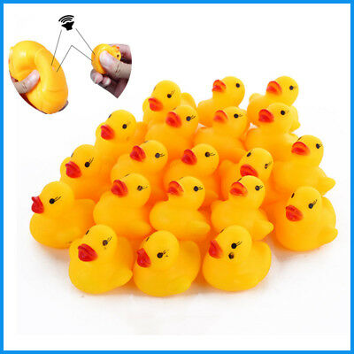 50x100x Yellow Rubber Duck's Squeaky Baby Bath Birthday Toys children play cute