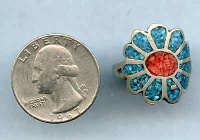 Vintage Blue Red Flower Ring Turquoise Sterling Silver Coral Size 9.5