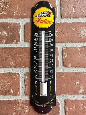 INDIAN MOTORCYCLES PORCELAIN GAS / Oil THERMOMETER SIGN. BUY IT NOW. 😎