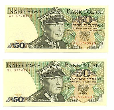 Poland - Polonia 2 x 50 zlotych consecutive 1998 Unc - Fds
