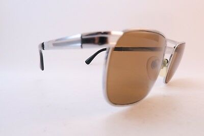 Vintage steel sunglasses Rodenstock Zermatt Germany brown glass lenses men's M/L