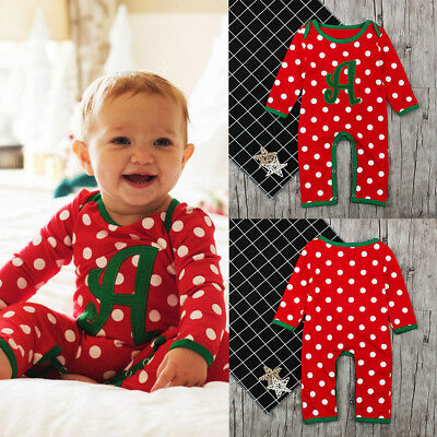 XMAS Newborn Infant Baby Boy Girl Cotton Romper Jumpsuit Bodysuit Clothes Outfit