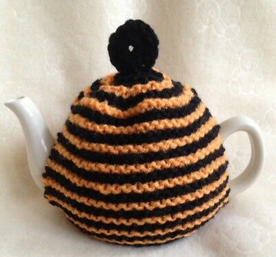 HAND KNITTED   TEA COSY  SMALL TEAPOT 2 cup size black orange stripes
