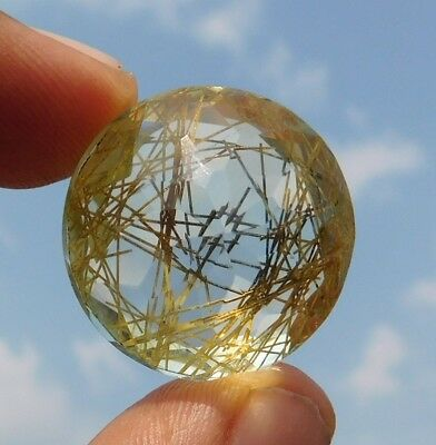 44.65 Cts Genuine Golden Doublet Rutile 25X25X13 Mm  Cabochon Loose Gemstone