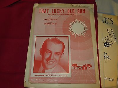 Lot Sheet Music, 1949 That Lucky Old Sun, 1943 The Lord's Prayer, 1921 The Wood