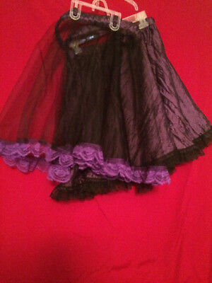 Purple Skirt w/ Black Lace and  Black Tulle Overlay w/ Purple Lace  Size 11-12