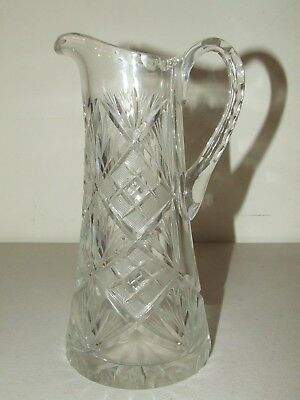 "Antique American Brilliant Ornate Fancy Cut Glass Crystal 8"" Water Pitcher ABP"