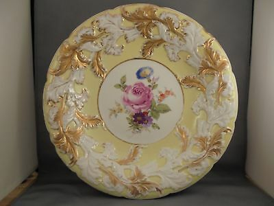 Old Antique Meissen Crossed Swords Charger Yellow w Gold HP Flowers 11 7/8""