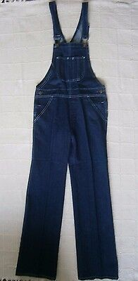 Vintage Denim Dungarees - Age 12 - Navy - White stitching - Metal Buckles - New