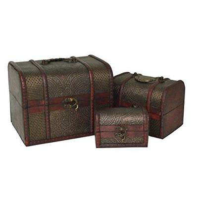 Set of 3 Antique Vintage Wooden Treasure Chest Jewellery Accessory Storage Box