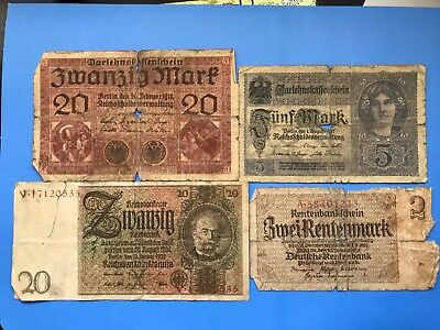 4 old Germany Banknotes lot