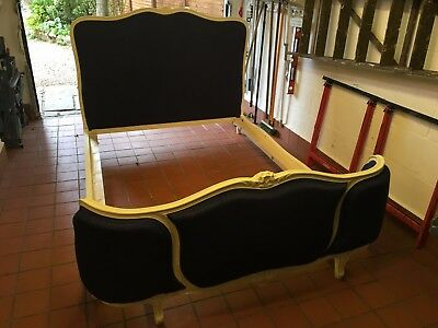 French Vintage Classic Louis Style Demi Corbeille Upholstered Double French Bed