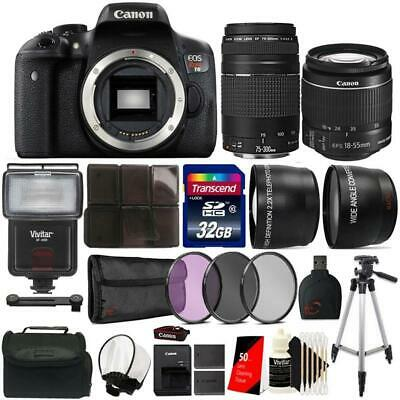 Canon EOS Rebel T6 DSLR Camera w/ 18-55mm Lens , 75-300mm Lens and Accessories