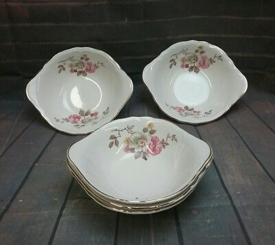 Edwin M. Knowles China Co Semi Vitreous Two handled Floral pattern Bowls (5)