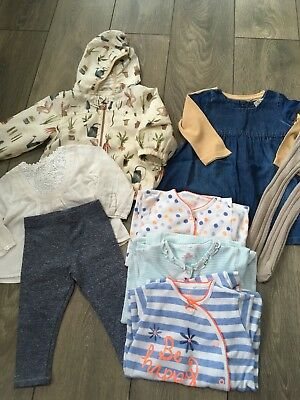 Baby Girl Next 2 Outfits, 3 Babygros And Jacket Bundle Age 9-12 Months