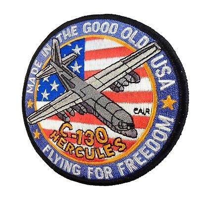 lockheed c-130 hercules flying for freedom plane flight parche sew/iron on patch