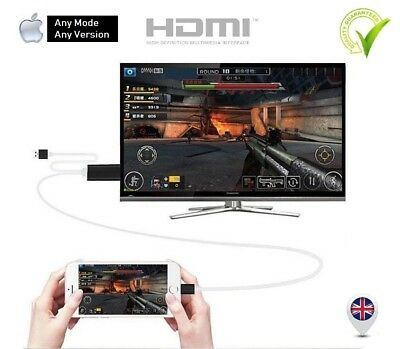 Lightening to HDMI HDTV TV Adapter Cable for Apple iPad Mini4 3 Air 2 Pro White