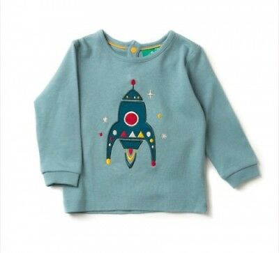 Little Green Radicals Organic T shirt top 0 3 6 9 18 24 Rocket to the Stars LGR