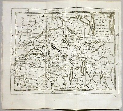 Savoia Switzerland Val D'aosta Piemonte Lombardia 1769 Buffier Original Map