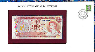 Banknotes of All Nations Canada 2 dollars 1974 UNC P 86a prefix UM Birthday 1960