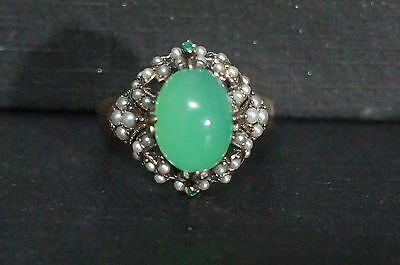 Vintage Sterling Silver Stauer CHALCEDONY Emerald Seed Pearl Cluster Ring Sz 9