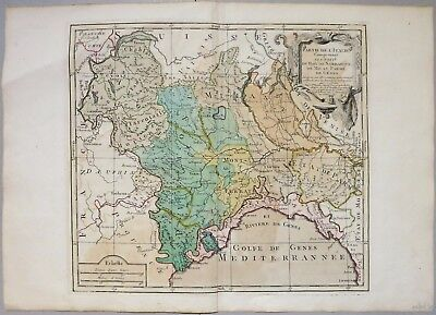 Savoia Piemonte Lombardia Liguria Switzerland 1764 Brion Desnos Original Map