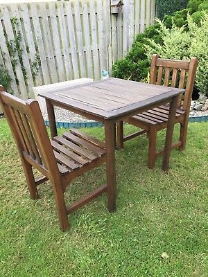 Teak Garden table and 2 chairs in very good condition.  Collect only.