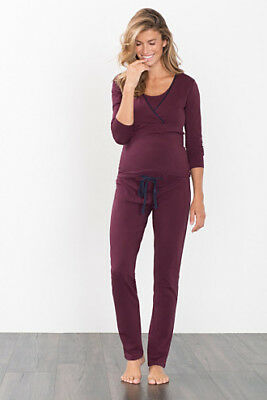 NEW Esprit Jersey trousers + below-bump waistband BURGUNDY NIGHT