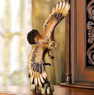 Soaring Bald Eagle Statue Bird Display Sculpture Mantel Figure Faux Carved Wood