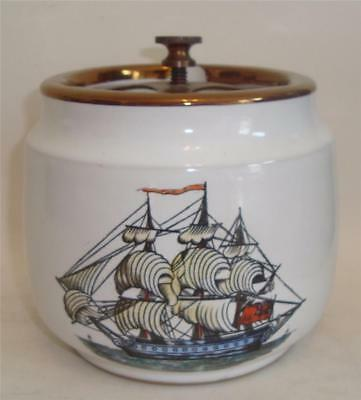 Vintage Tobacco Jar Grays Pottery Staffordshire Clipper Ship Nautical Poem