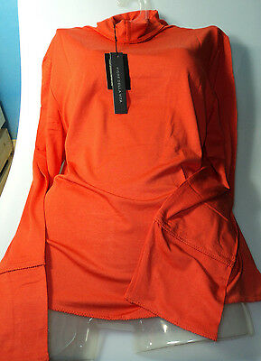 Wholesale Lot Ladies Tops XL Orange Long Sleeve Soft Silky 4 for Only £10