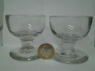 glass rummer pair 19th century thickened hand blown pontil .. rare unusual size