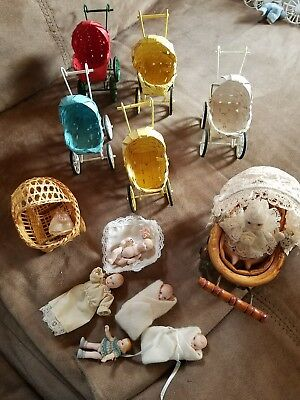 ANTIQUE look Miniature Doll Strollers, buggies,  Wicker, and wood / metal+dolls