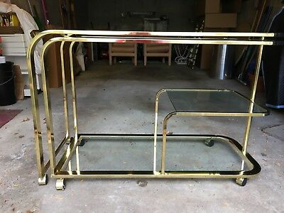 Milo Baughman for DIA Expandable Hollywood Regency Brass Bar / Tea Cart